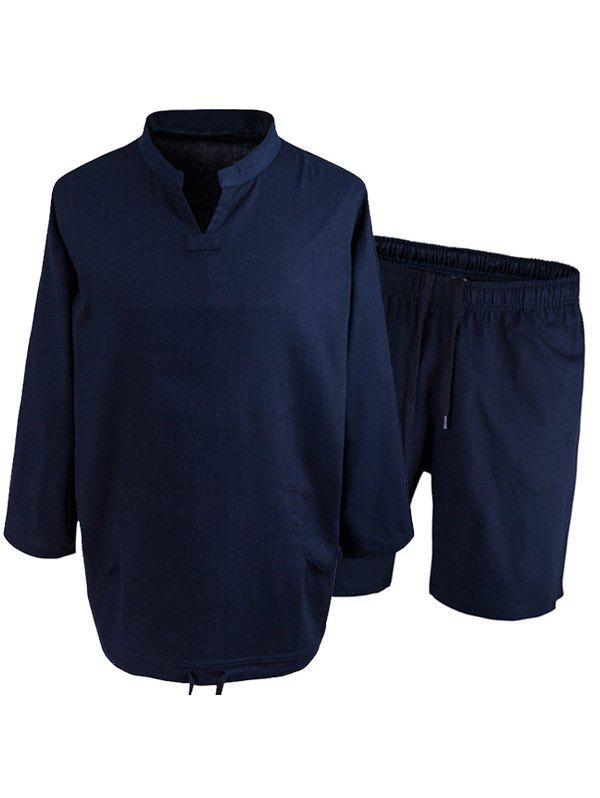 Kangaroo Pocket Mandarin Collar Tee with Shorts - DEEP BLUE 2XL