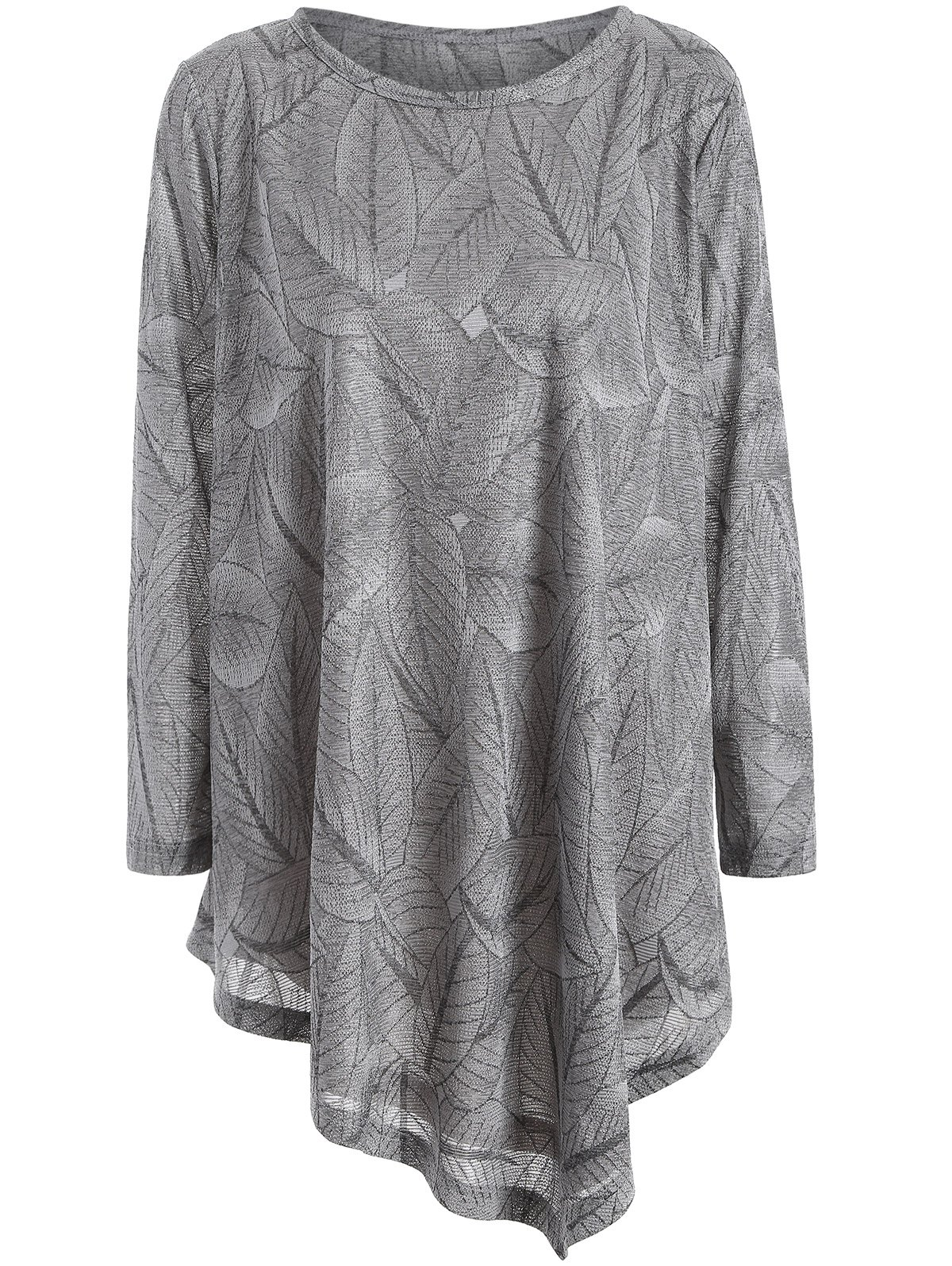 Plus Size Leaf Pattern Long Sleeve Asymmetric Tee - GRAY 2XL