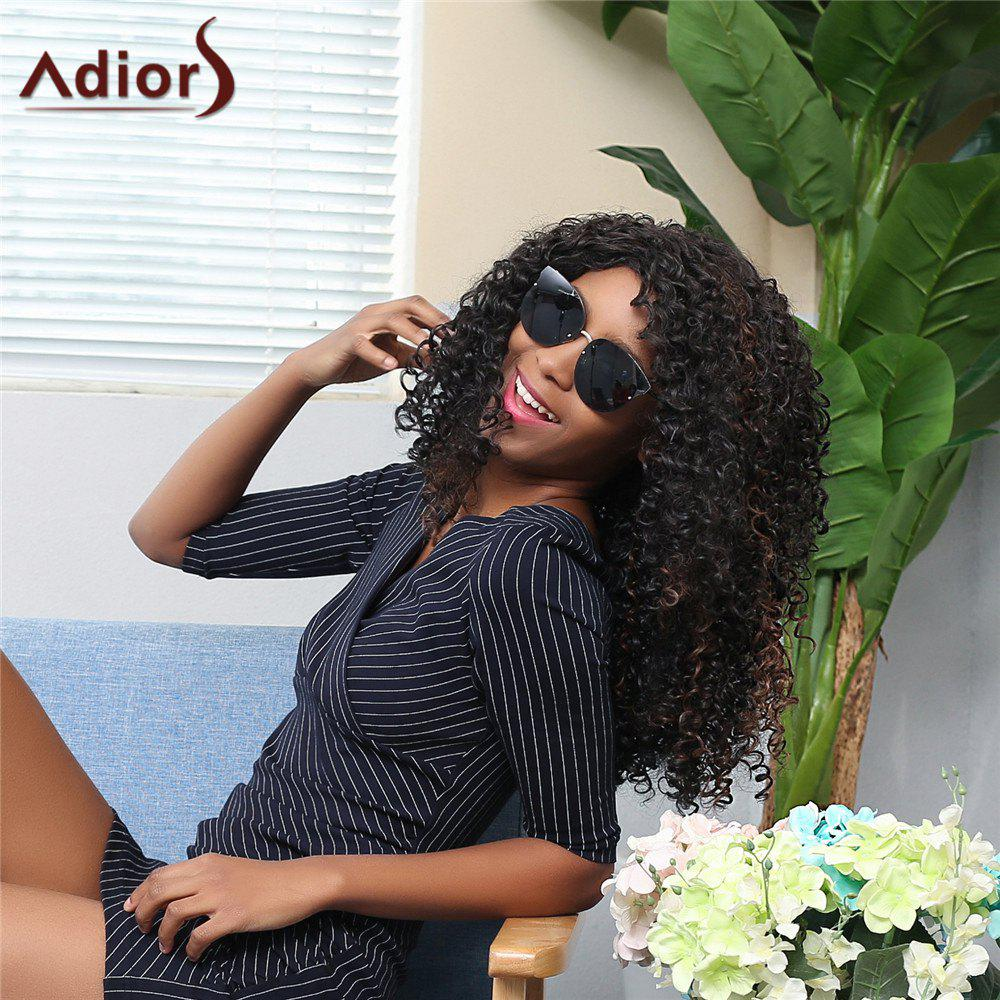Adiors Side Parting Long Shaggy Afro Curly Synthetic Wig curly shaggy short side parting synthetic wig