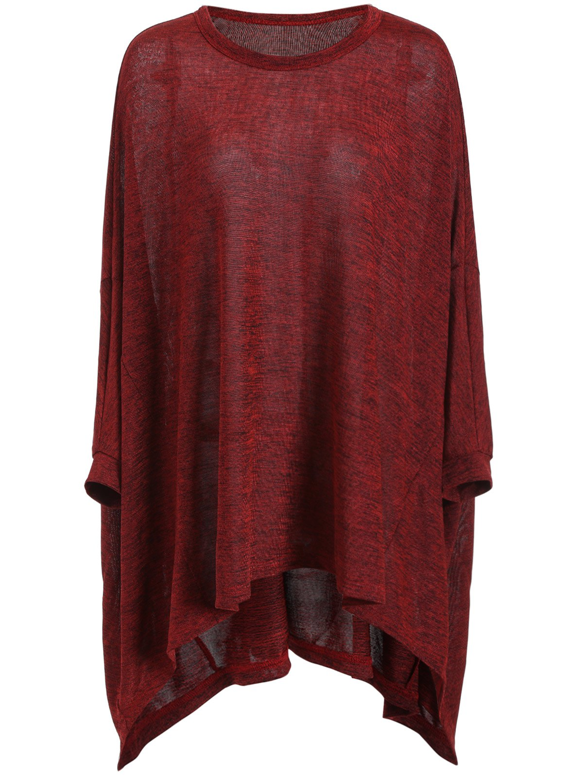 Plus Size Long Sleeve Tunic Tee - DEEP RED 3XL