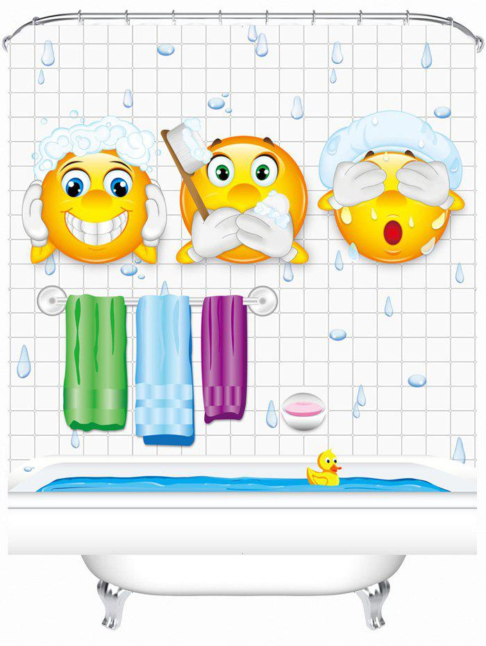 Cartoon Pattern Bathroom Shower Curtain with Hooks - WHITE