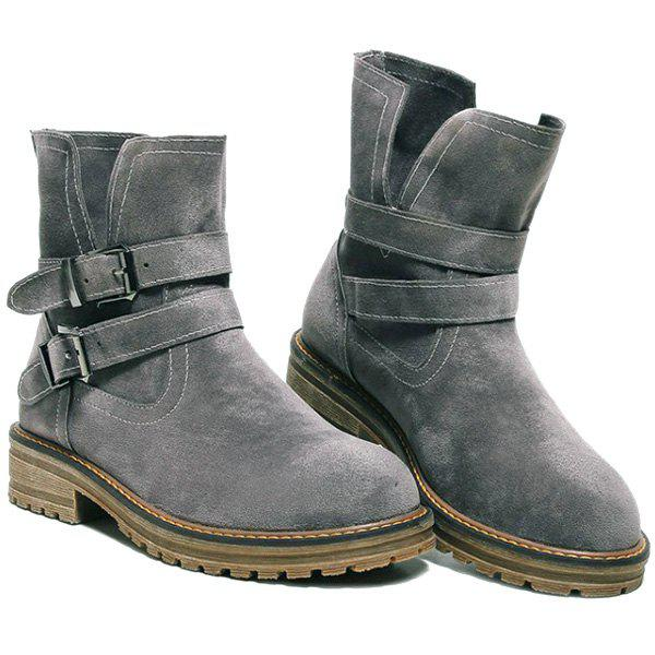 Dark Colour Double Buckle Short Boots - GRAY 38