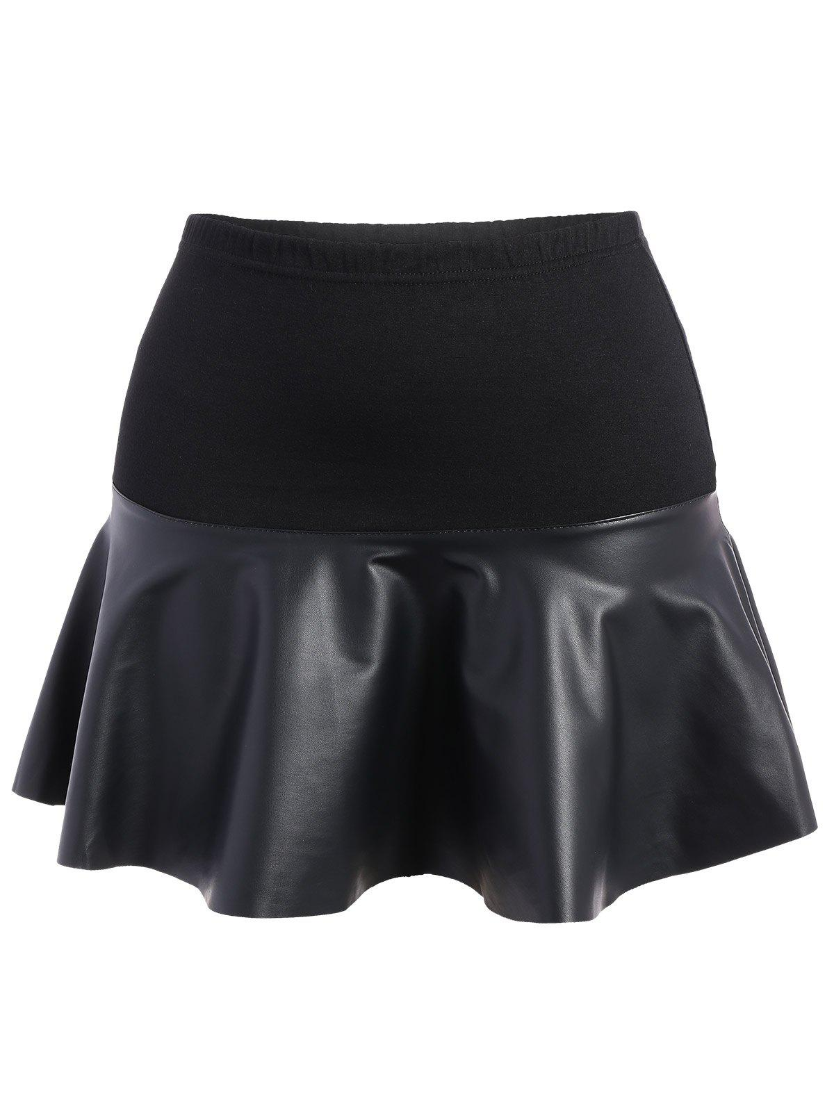 Plus Size Faux Leather Panel Skirt - BLACK 4XL