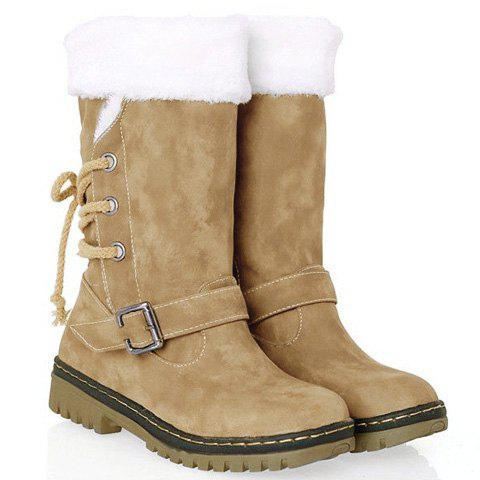 Vintage Suede and Buckle Design Snow Boots For Women - KHAKI 38
