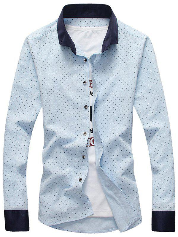Cross Pattern Contrast Collar Button Down Shirt Oasis M