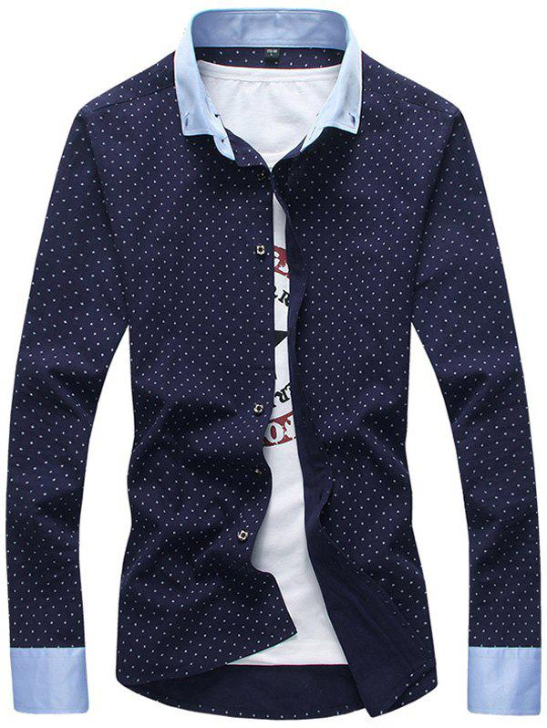 Cross Pattern Contrast Collar Button Down Shirt Cadetblue