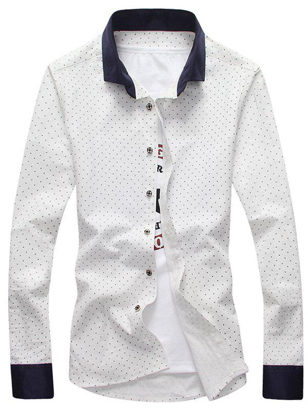 Cross Pattern Contrast Collar Button Down Shirt White Xl