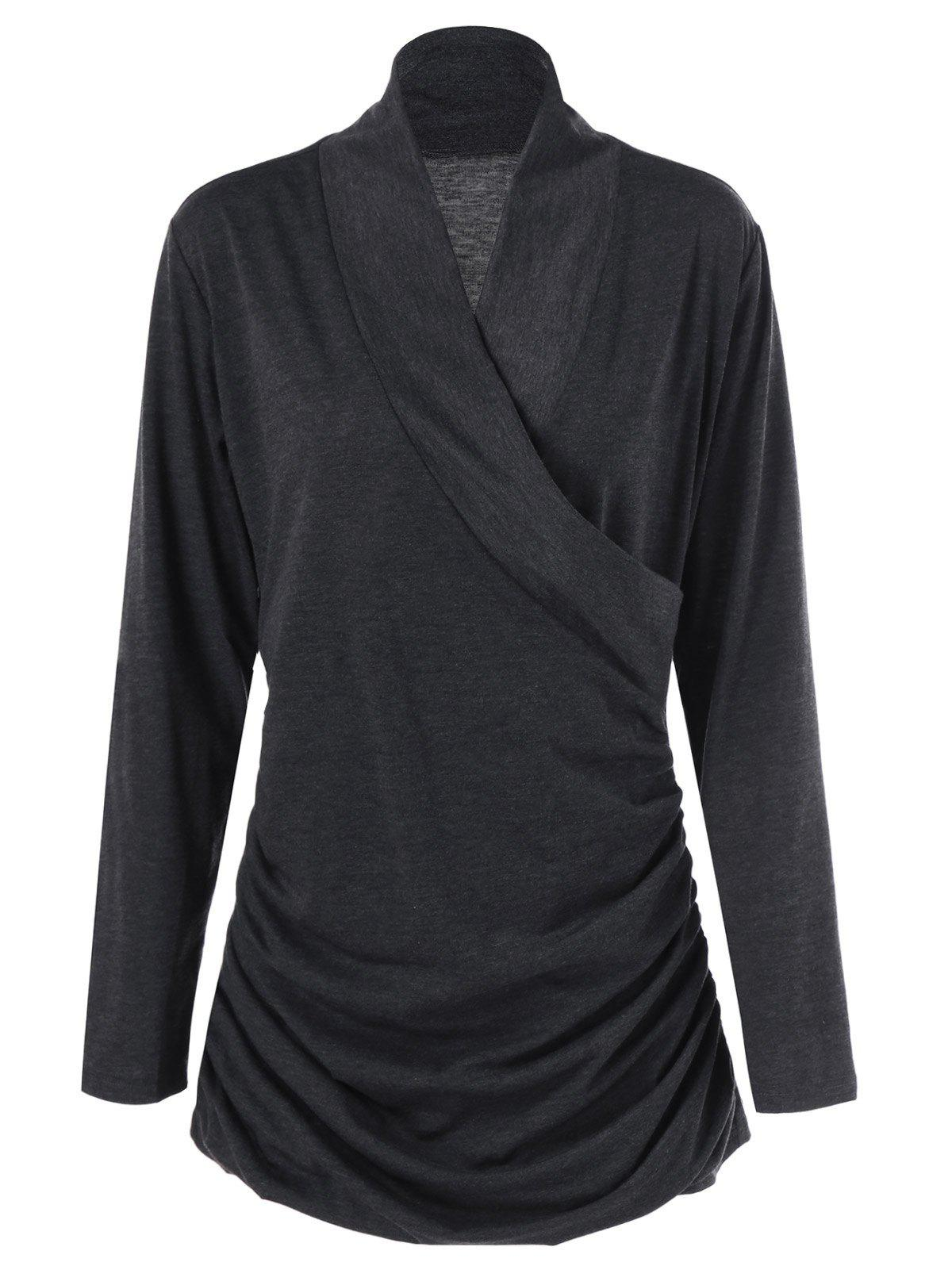 Ruched Surplice Plus Size T-Shirt - BLACK GREY XL