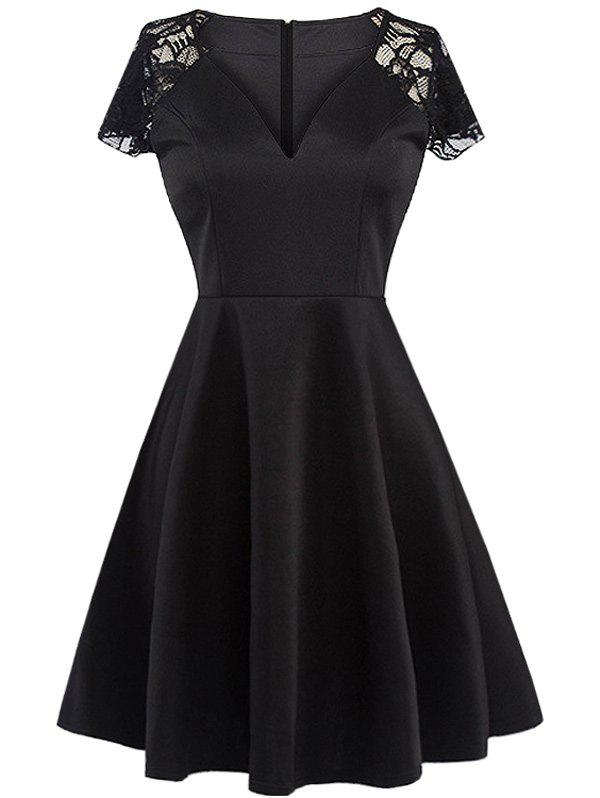 Fit and Flare Lace Cap Sleeve Dress - BLACK XL