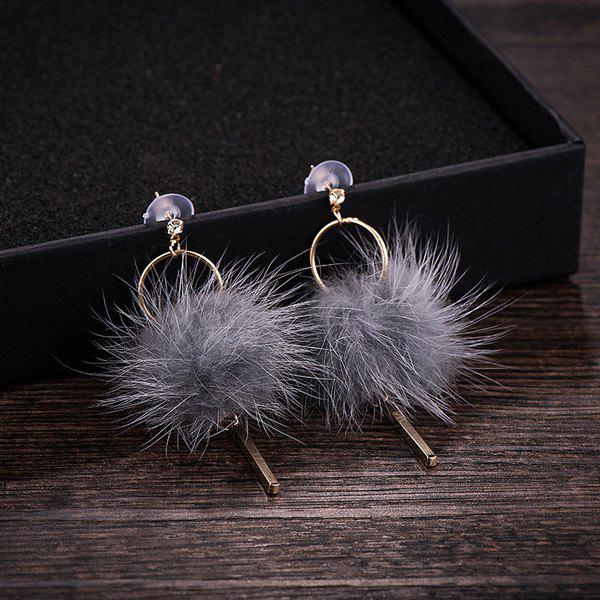 Bar Fuzzy Ball Drop EarringsJewelry<br><br><br>Color: GRAY