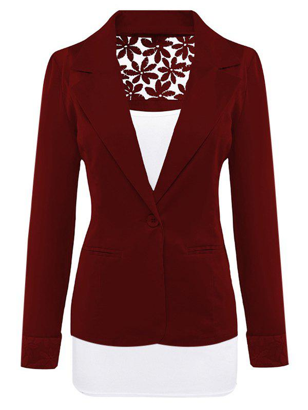 Lace Insert Lapel Blazer With Pocket - WINE RED L
