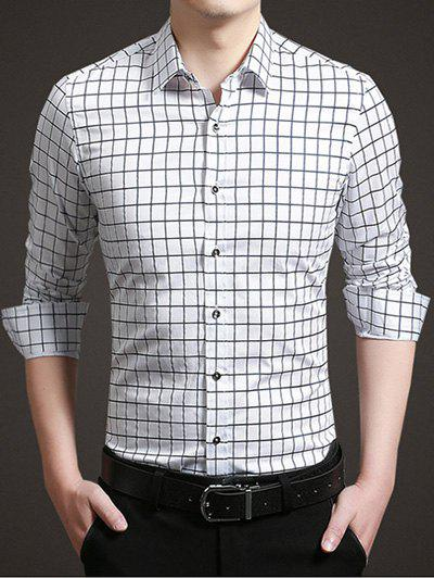 Long Sleeve Button Up Grid Shirt - WHITE XL
