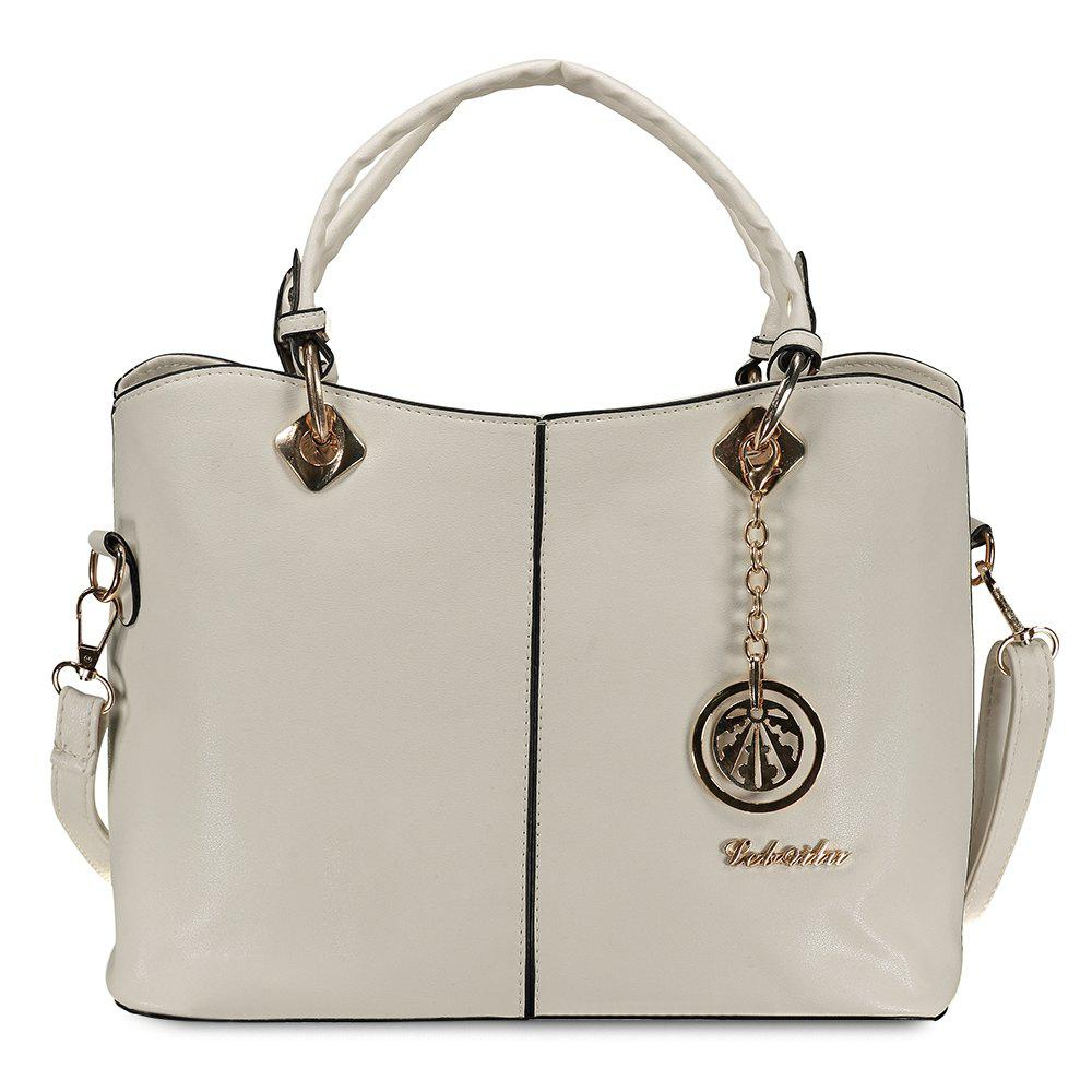 Fashion PU Leather and Pendant Design Tote Bag For Women - OFF WHITE