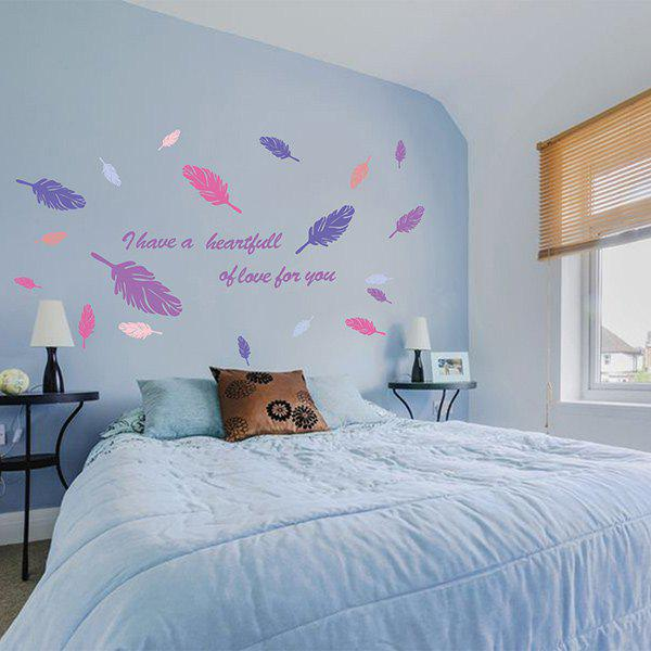 DIY Feather Removable Room Wall Stickers - COLORFUL
