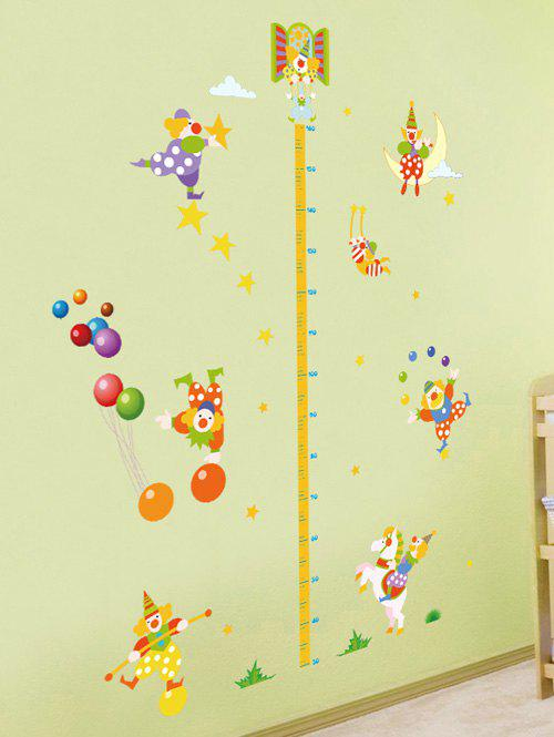 Kids Bedroom Height Measurement Removable Cartoon Clown Wall StickersHome<br><br><br>Color: YELLOW