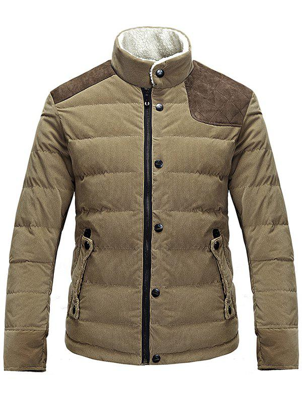 Corduroy Panel Stand Collar Zip Up Padded Jacket pu leather and corduroy spliced zip up down jacket