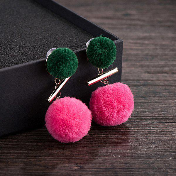 Color Block Fuzzy Pom Pom Drop Earrings - TUTTI FRUTTI