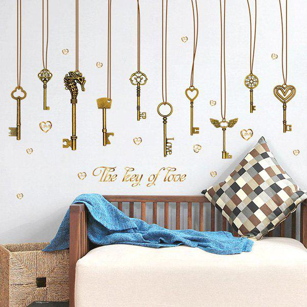 The Key Of Love Pendant PVC Removable Wall Stickers   BRONZE COLORED