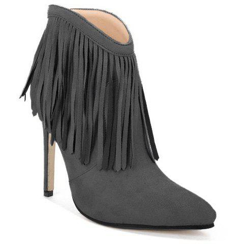Pointed Toe Stiletto Heel Fringe Ankle Boots эвалар турбослим день усиленная формула 30 капсулы