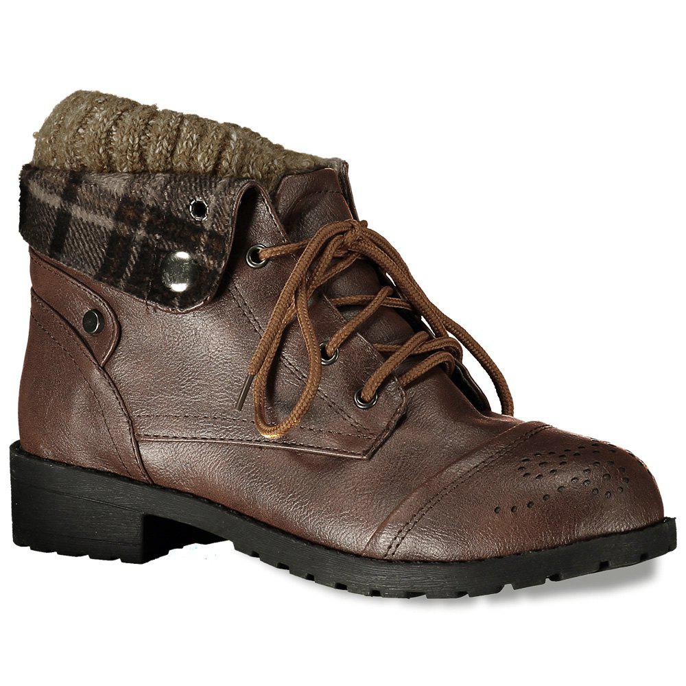 Retro Engraving and Lace-Up Design Swaeter Boots For Women - BROWN 35