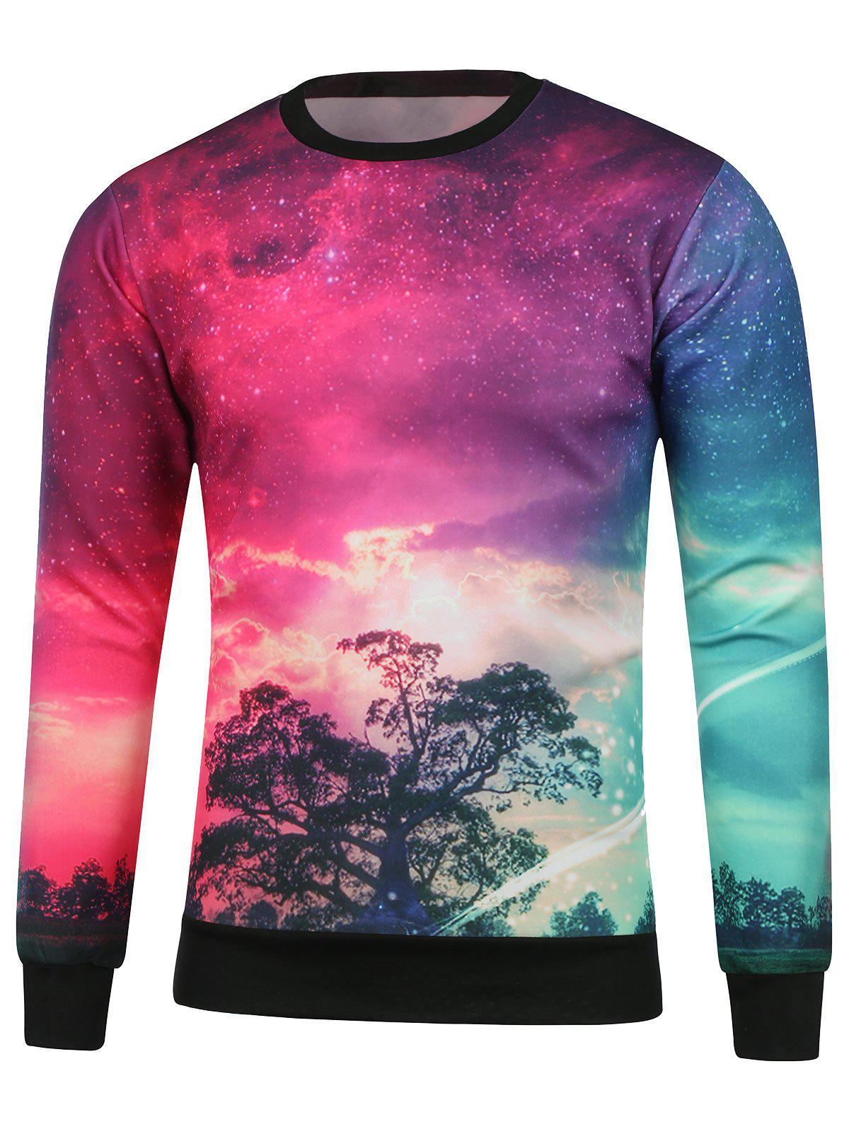 Tree Printed Crew Neck Galaxy Sweatshirt compatible color laser printer chip for xerox phaser 7100 toner reset chip for xerox 7100