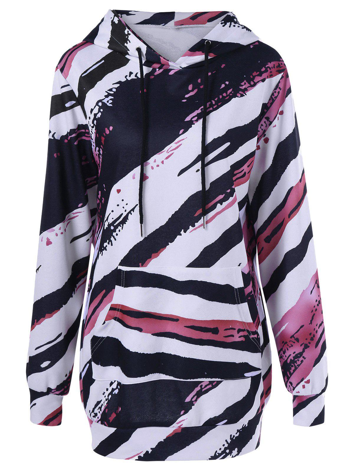 Tie-Dye Kangaroo Pocket Longline HoodieWomen<br><br><br>Size: M<br>Color: COLORMIX