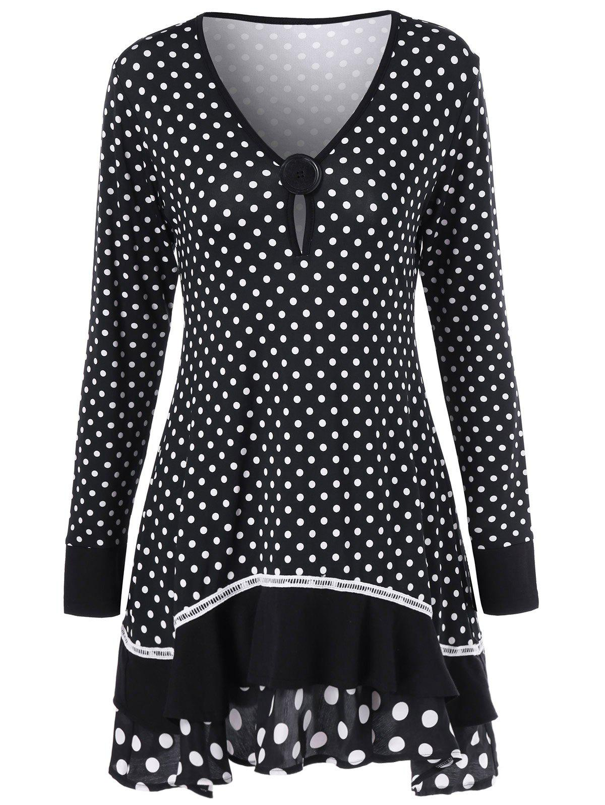 Polka Dot Ruffled Longline T-Shirt - BLACK XL