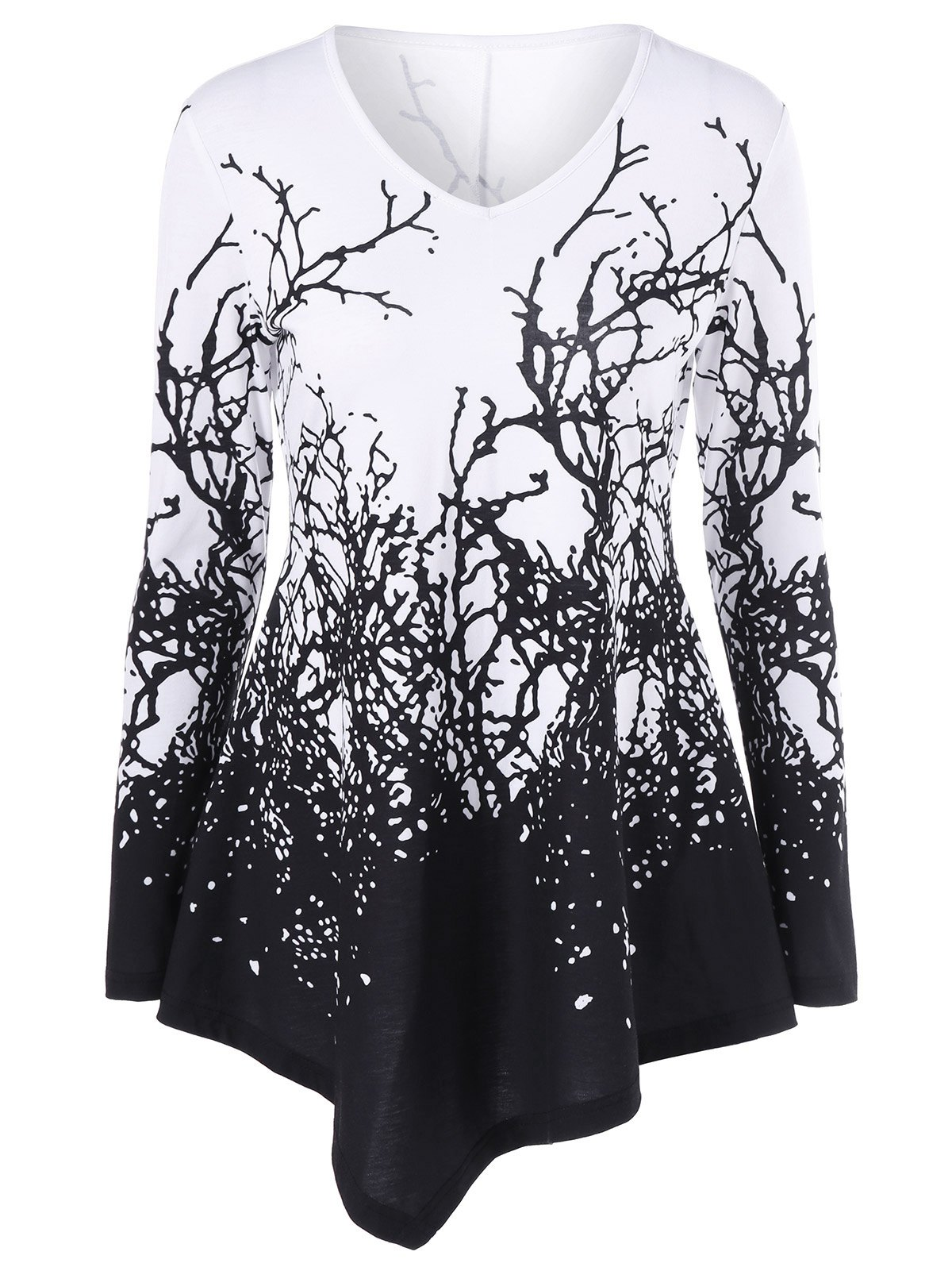 Branch Print Asymmetrical T-Shirt - WHITE/BLACK L