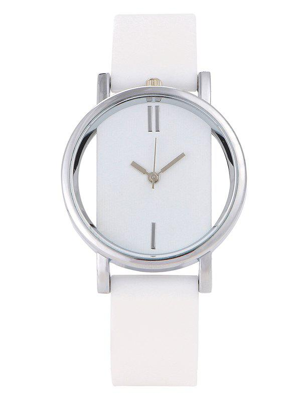 Hollow Out Analog Silicone Wrist Watch - WHITE