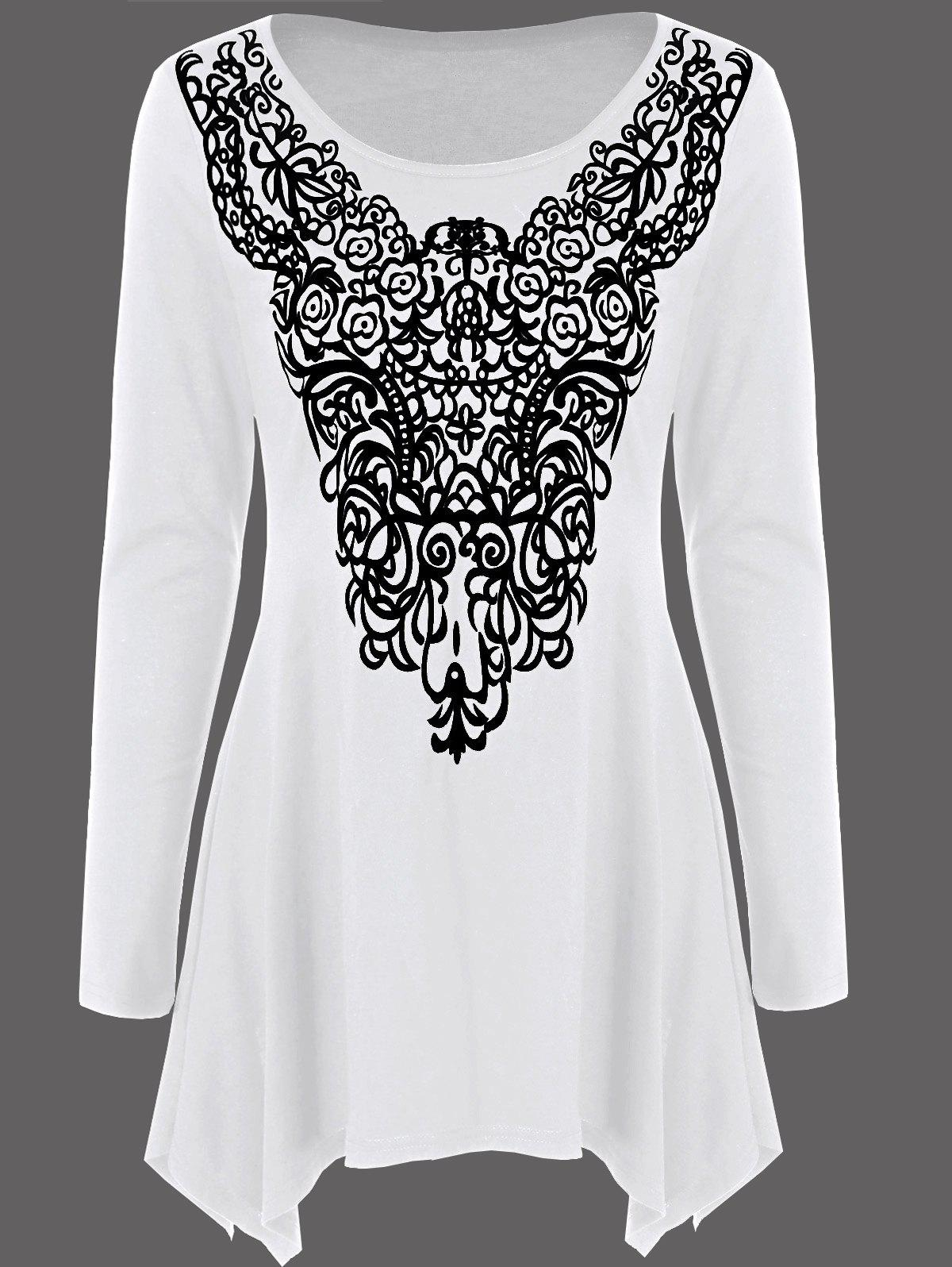 Long Sleeve Abstract Print Asymmetrical Tee - WHITE M