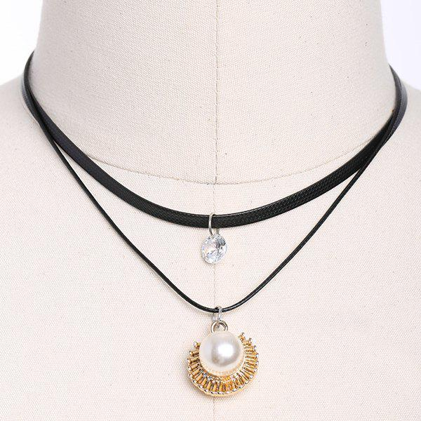 Artificial Leather Pearl Rhinestone Choker Necklace купить