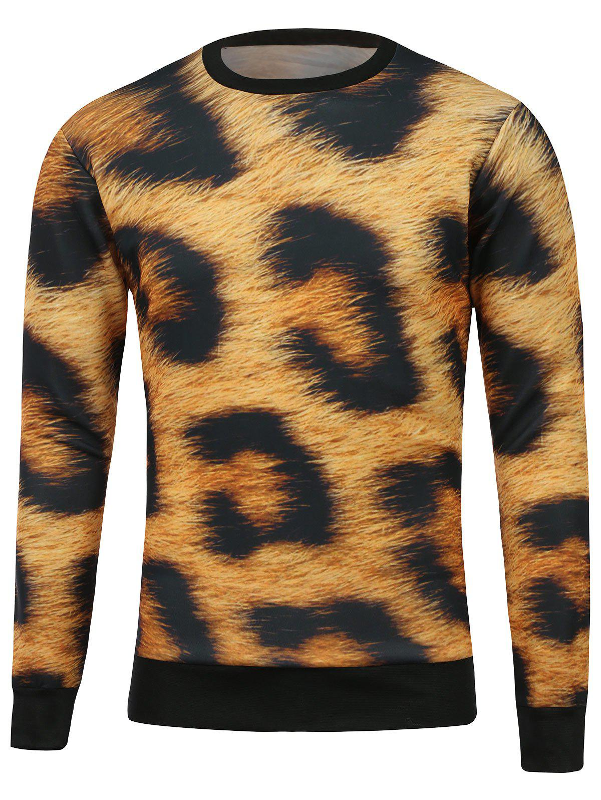 Leopard Printed Crew Neck SweatshirtMen<br><br><br>Size: M<br>Color: LEOPARD
