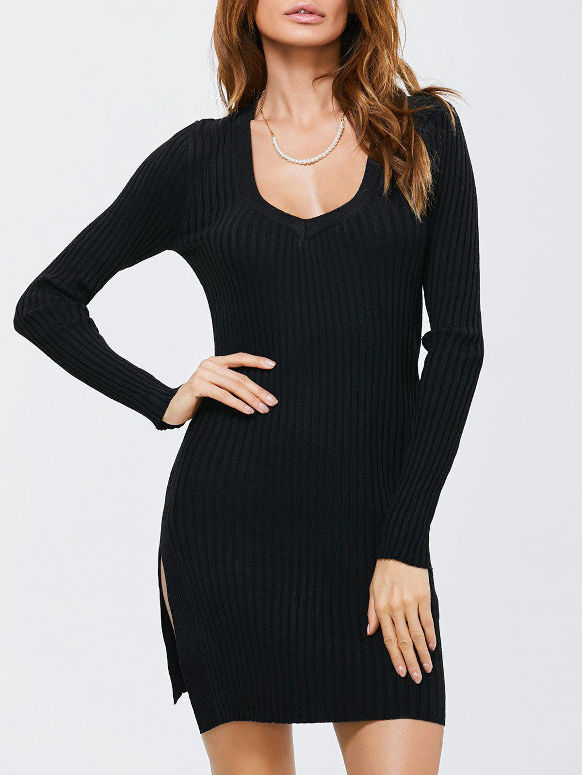 Side Slit Bodycon Ribbed Pencil Sweater Dress - BLACK ONE SIZE