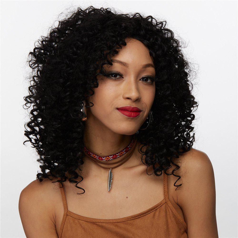 Afro Curly Medium Side Bang Synthetic Wig - BLACK