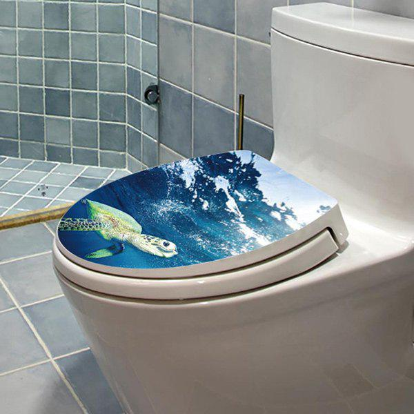 Sea Turtle Pattern Toilet Cover Wall StickerHome<br><br><br>Color: OCEAN BLUE