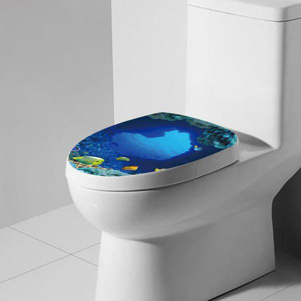 Sea Fish Pattern Toilet Cover Wall StickerHome<br><br><br>Color: OCEAN BLUE