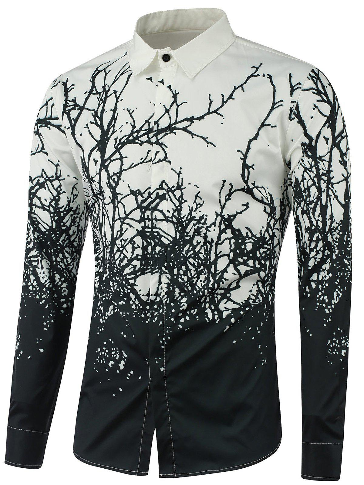 Tree Branch Printed Long Sleeve Shirt - BLACK XL