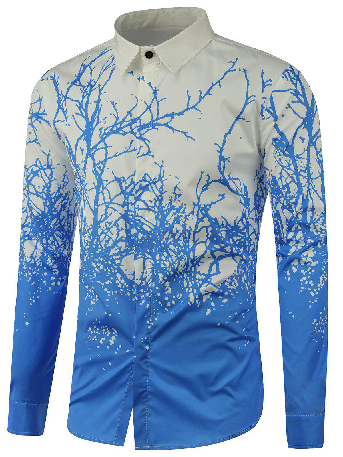 Tree Branch Printed Long Sleeve Shirt - BLUE L