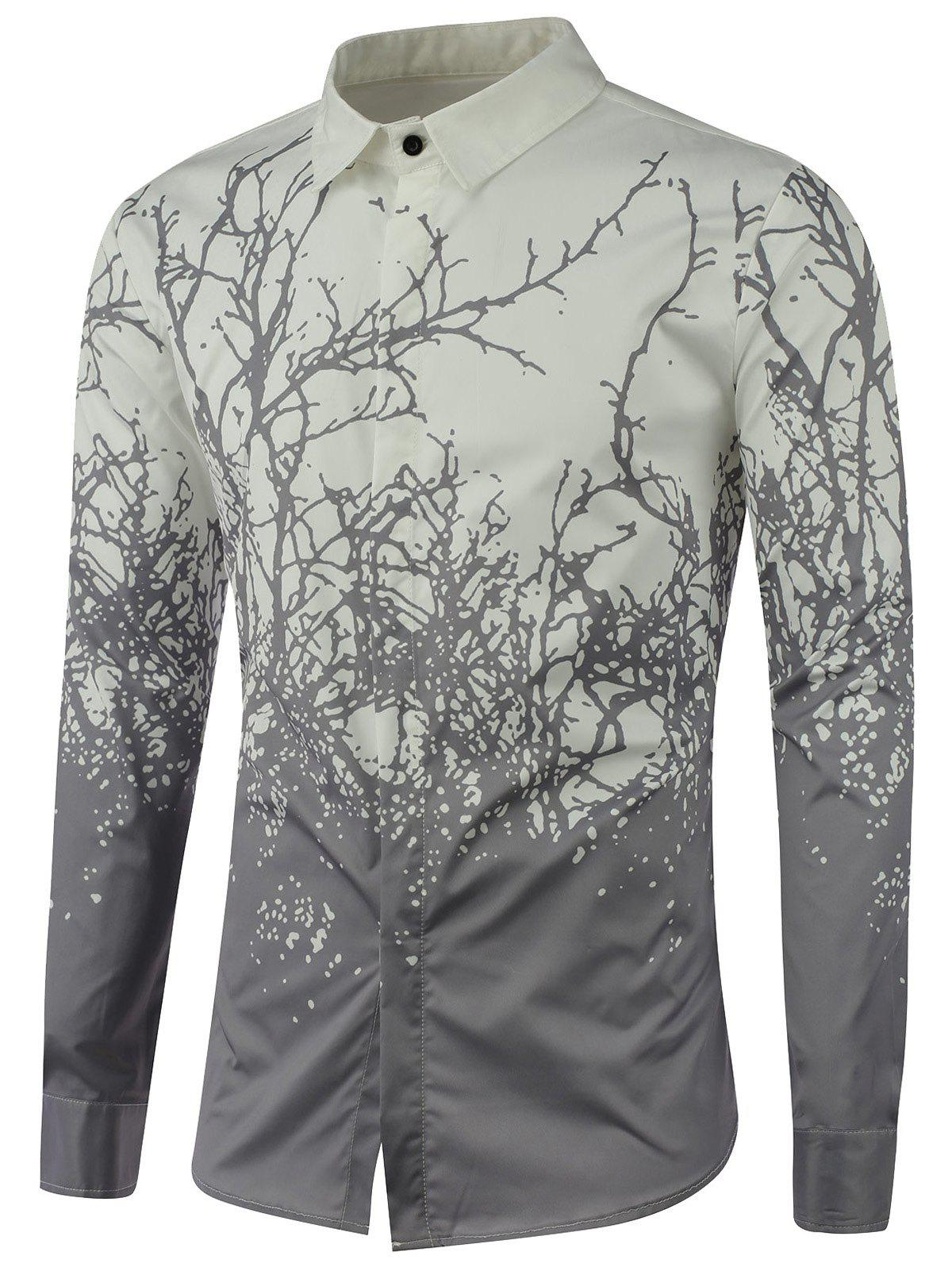 Tree Branch Printed Long Sleeve ShirtMen<br><br><br>Size: XL<br>Color: GRAY