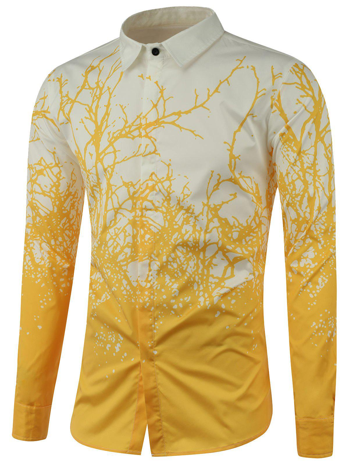 Tree Branch Printed Long Sleeve Shirt - YELLOW 2XL