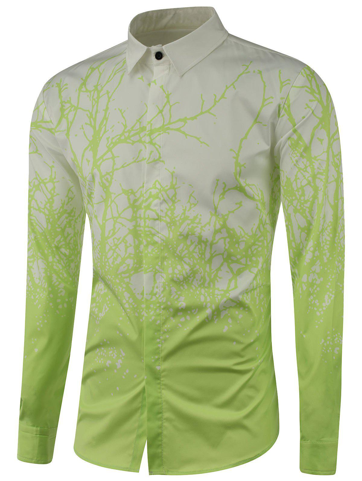 Tree Branch Printed Long Sleeve Shirt - LIGHT GREEN 2XL