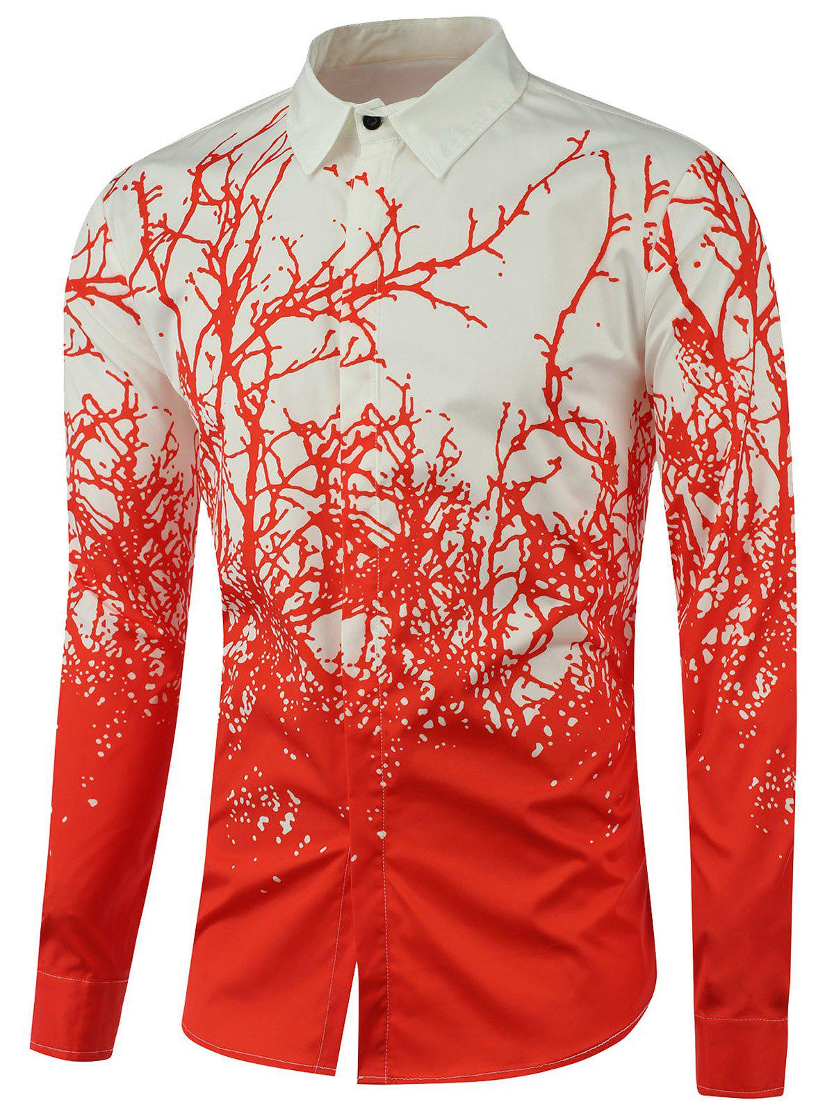 Tree Branch Printed Long Sleeve Shirt - RED M