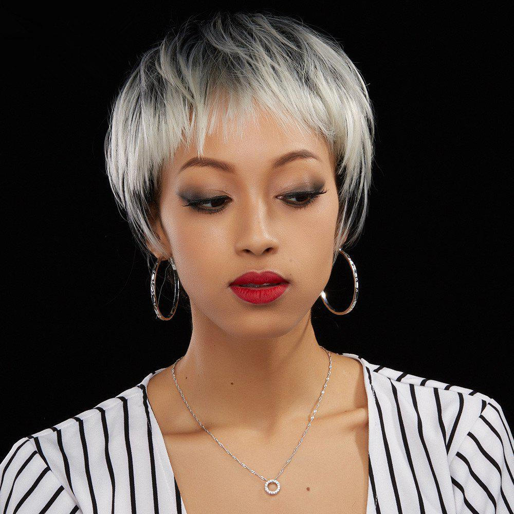 Short Neat Bang Straight Ombre Color Human Hair Wig - COLORMIX