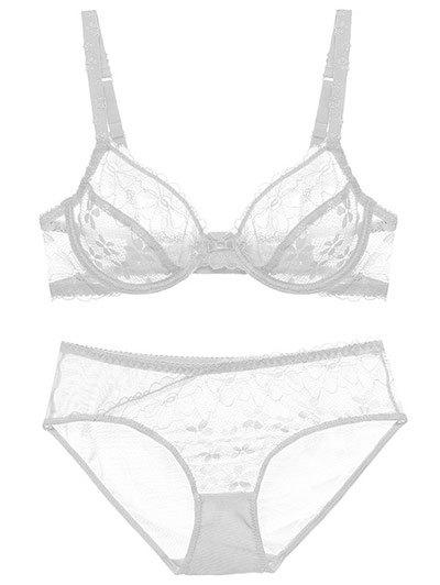 Push Up Lace Sheer Low Cut See Through Bra Set see through voile panel lace bra set