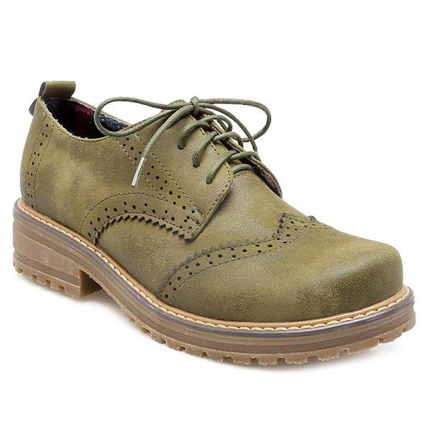Buy Round Toe Lace Wingtip Shoes ARMY GREEN