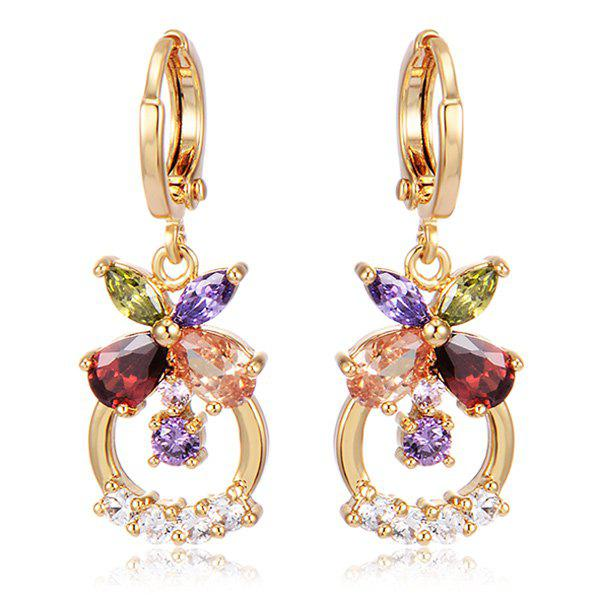 Floral Circle Rhinestone Drop Earrings square rhinestone floral drop earrings