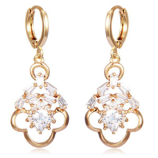 Hollow Out Rhinestone Floral Drop Earrings square rhinestone floral drop earrings