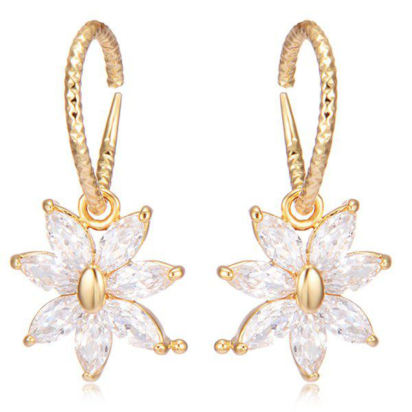 Rhinestoned Floral Hammered Drop Earrings - GOLDEN