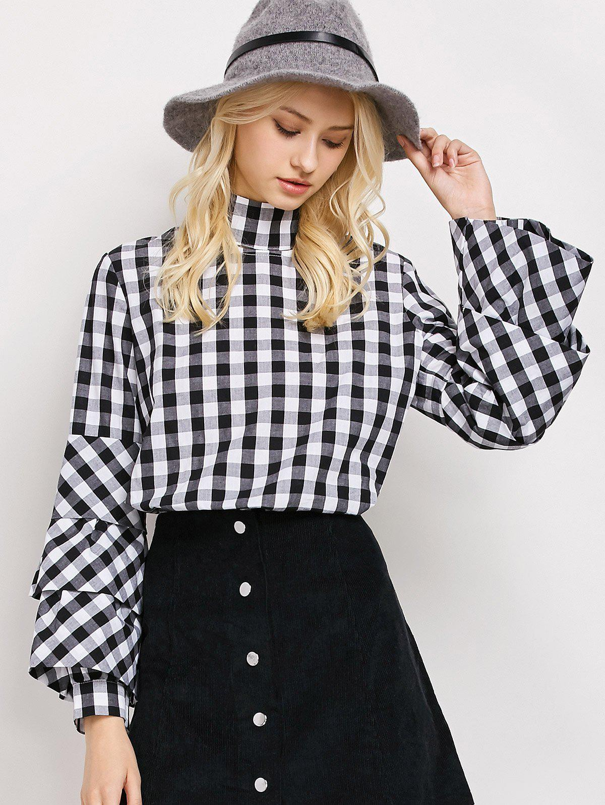 High Neck Layered Sleeve Checked Blouse - PLAID S