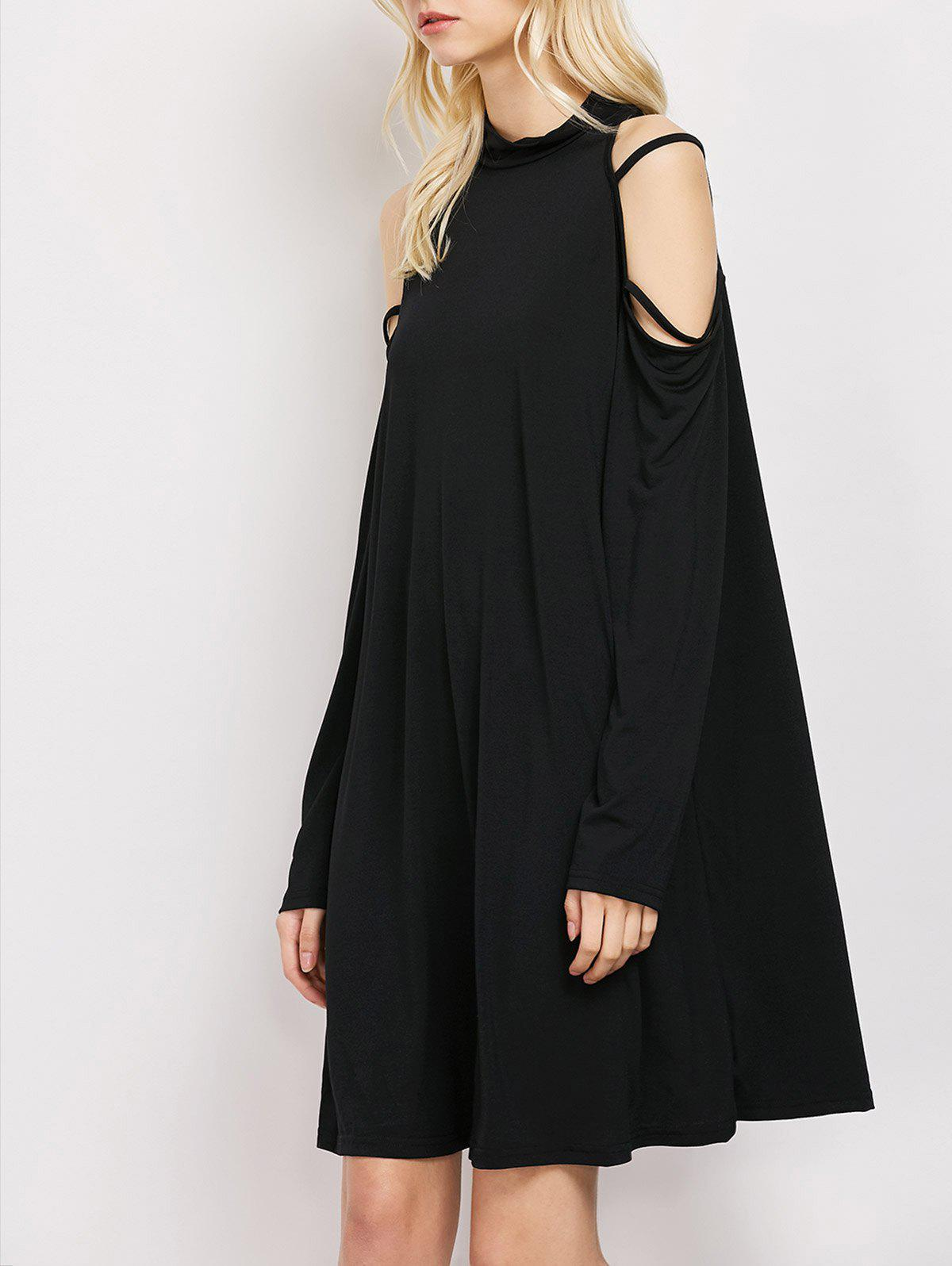 Cold Shoulder Strappy Loose Long Sleeve Dress - BLACK M